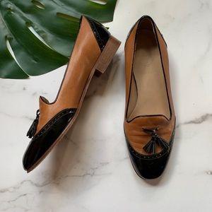 J. Crew💕Toni Tassel Patent Wingtip Cognac Loafer